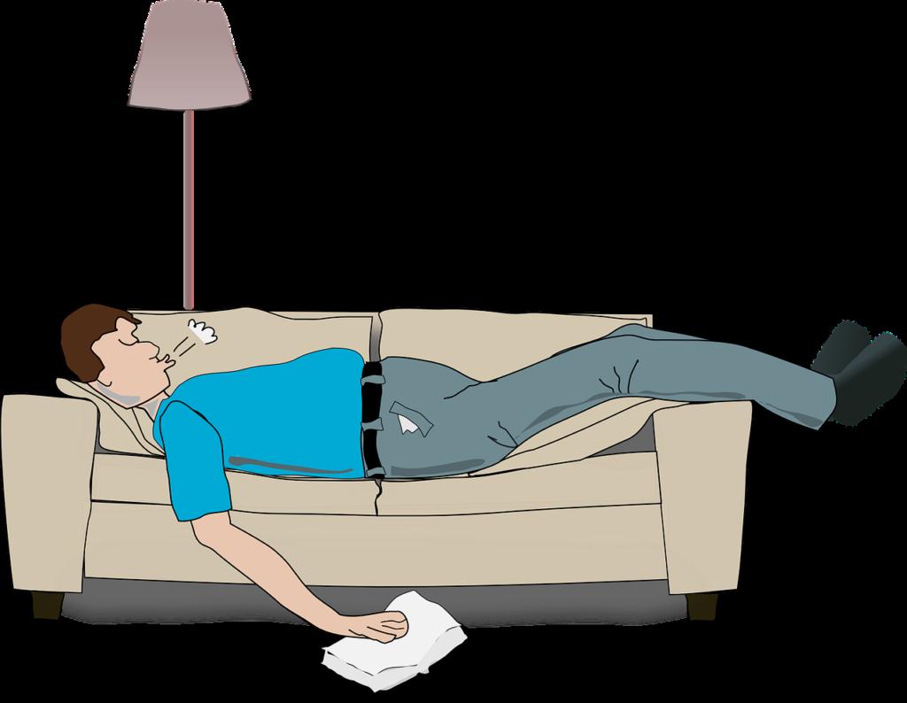 גבר יושן על ספה